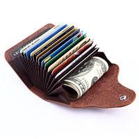 Herren Leder Portemonnaie Kredit Kartenetui Geldbörse Geldbeutel Brieftasche