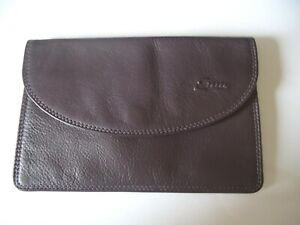 Ex con. ENNY- Italian purple grained leather envelope purse with keyfob