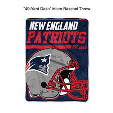 "NFL New England Patriots 40-Yard Dash Micro Raschel Throw Blanket 40"" x 60"""