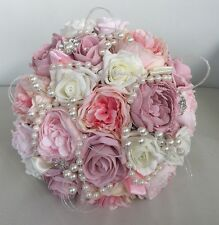 VINTAGE BRIDE BROOCH PEARLS PINK IVORY WEDDING FLOWERS BOUQUET PEONIES ROSE SILK