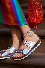 Birkenstock Arizona Silver Metallic Leather Size 36 Narrow Soft Footbed