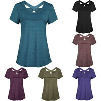 Woman Casual Short Sleeve Round Neck Blouse Criss Cross Back Athletic Yoga Shirt