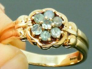 9ct Gold Alexandrite Hallmarked Cluster Ring size N