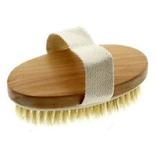 Natural Wooden Bristle Contour Spa Bath Shower Body Brush Back Scrub Massager