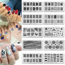 Hot Template Stamping Plates Nail Art Stainless Steel Manicure Black cooi-001