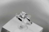 4-Claws 1 Ct Cubic Zirconia 925 Sterling Silver SP Engagement Promise Ring RS64