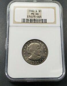 1980 S $1 SBA Susan B Anthony Dollar Coin NGC MS66 Robinsons Combo Ship Discount