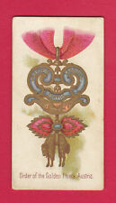 ALLEN  &  GINTER  -  RARE  MILITARY  /  DECORATIONS  CARD  -  AUSTRIA  -  1890