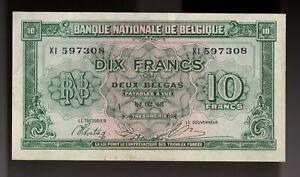 1943 Belgium 10 Francs Note, Pick 122. XI. prefix. AU (CRISP)