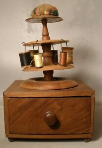 Antique Sewing Box with Pincushion Top Thread Carousel
