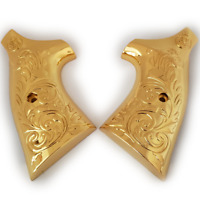 New Smith & Wesson Scroll Metal Grips For K-Frame Square Butt Gold Plated