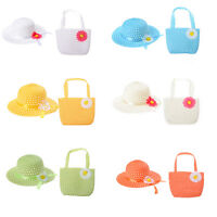 Cute Girls Kids Beach Summer Sun Hats Bags Flower Straw Hat Cap Handbag Suit LJ