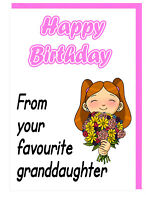 Birthday Card For Grandma Nanny Gran Nan - From Your Favourite Granddaughter