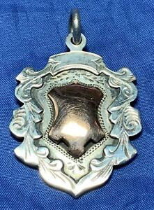 SOLID SILVER HEAVY SHIELD SHAPED FOB  BY RICHARD PRINGLE B'HAM 1934 -UNENGRAVED