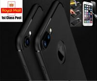 iPhone 6 7 8 X Plus Matte Black Case Cover and Tempered Glass Screen Protector