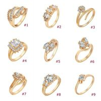 Engagement Ring 18K Gold Plated Zirconia Rhinestone wedding Ring Women Jewelry