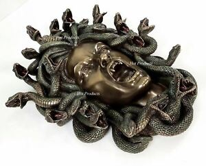 """15"""" Medusa Head of Snakes Gothic Wall Decor Plaque Statue Bronze Finish"""