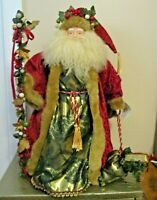 "Large St Nicholas Santa Figurine Ornate Velvet Fabric Fur & Porcelain 26"" tall"