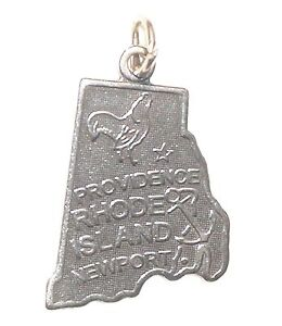 STERLING SILVER CHARM State of RHODE ISLAND RI