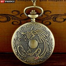 Quartz Pendant Necklace Vintage Gift Men Full Hunter Dragon Antique Pocket Watch