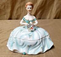 LIMOGES Porcelain Victorian Lady Trinket Holder Jewelry Box Crinoline Dress Fan