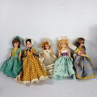 "Lot Of 5 Vintage 50s? 8"" Costume Dolls Dresses Princess Ballgown"