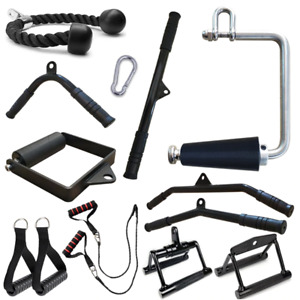 Gym Lat Pull Down Rope Pully Cable Machine Attachment Triceps Fitness T-Bar Grip