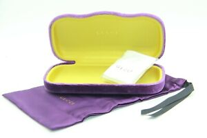 NEW PURPLE GUCCI HARD VELVET SHELL CASE + POUCH + CLOTH SUNGLASSES & EYEGLASSES