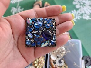 Vintage WEISS Huge Blue Rhinestone brooch pin large square signed Weiss brooch