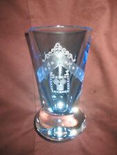 AQUA MASONIC FIRING GLASS HAND ENGRAVED WITH AMERICAN PAST MASTERS' JEWEL