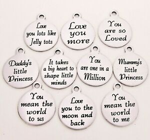 Message Charms * many others * love you , Personalised charms, engraved charms 1