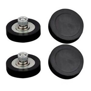 4PC Neodymium Black Round Magnet Anti-scratch Rubber cated Male Thread M6