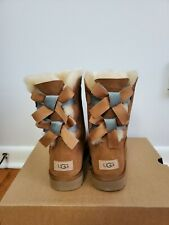 UGG Bailey Bow II Shimmer Chestnut Suede Fur Boots Womens Size 8 *NIB*