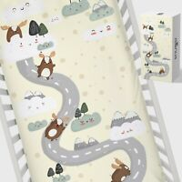Snugsi 100% Cotton Baby Nursery Cot Fitted Sheet with Gift Box - Sliding Deer