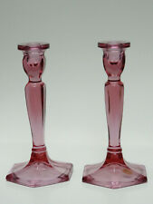 """PAIR of  FENTON DUSTY ROSE PINK HEXAGONAL FOOTED GLASS CANDLE HOLDER ~ 8.5"""" H"""
