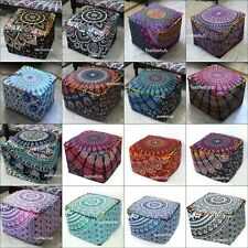 "18"" Mandala Square Ottoman Pouf Cover Indian Handmade Footstool Seating Cover"