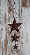 Primitive Vintage New Repro Shabby Country Rusty Small Triple Hanging Stars