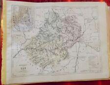 Old Map 1900 France Département Lot Cahors la Bastide Figéac Martel Montcuq