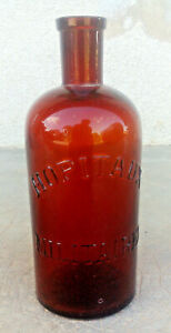 ancien flacon verre  marron hopitaux militaire médecine pharmacie
