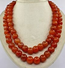 2 LINE 1702 CTS NATURAL ORANGE CARNELIAN  ROUND BEADS NECKLACE