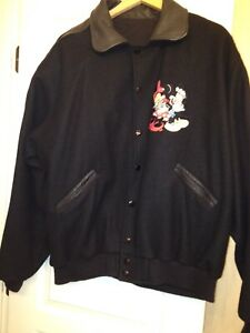 Vintage Disney Black Wool/Leather Mickey Mouse Bomber Jacket by Too Cute Guetta