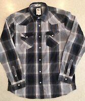 Standard Fit Levis Black Plaid Western Shirt Mens M Lumberjack Jeans Pearl Snaps