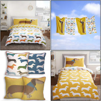 Rapport Dachshund Sausage Dog Reversible Duvet Cover Set Bedding Quilt Covers