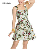 Hell Bunny Vintage Mini Dress Pin Up TAHITI Tropical Flowers Green All Sizes