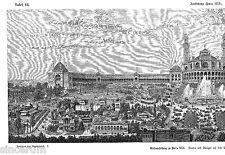 Parigi 1878 ESPOSIZIONE UNIVERSALE gr. ORIG. xilografia 1881 (doppia da tavola) Trocadero