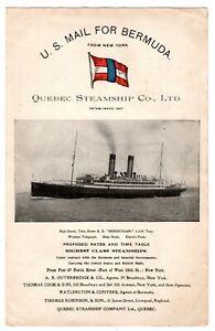 1911 USA / Bermuda/GB Quebec Steamship Co. Booklet / Timetables / Ship Detail.