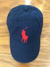POLO RALPH LAUREN NAVY CHINO RED BIG PONY 6 PANEL SPORT HAT COTTON TWILL CAP