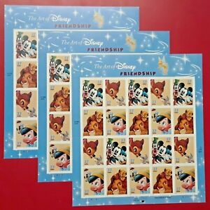 Three Sheets x 20 = 60 Of THE ART OF DISNEY: FRIENDSHIP 37¢ US  Stamps # 3865-68