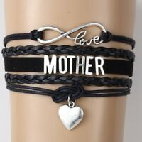 Multilayer Charm Bracelet Love Mom Mother' Gift Leather Bangle Rope Chain Link