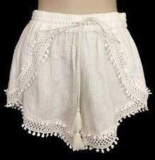 TRYB Shorts Carola White Lace Embroidered Pom Poms Size S NWT